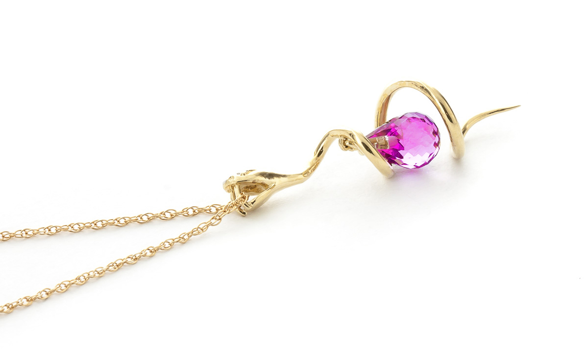 Pink Topaz & Diamond Serpent Pendant Necklace in 9ct Gold