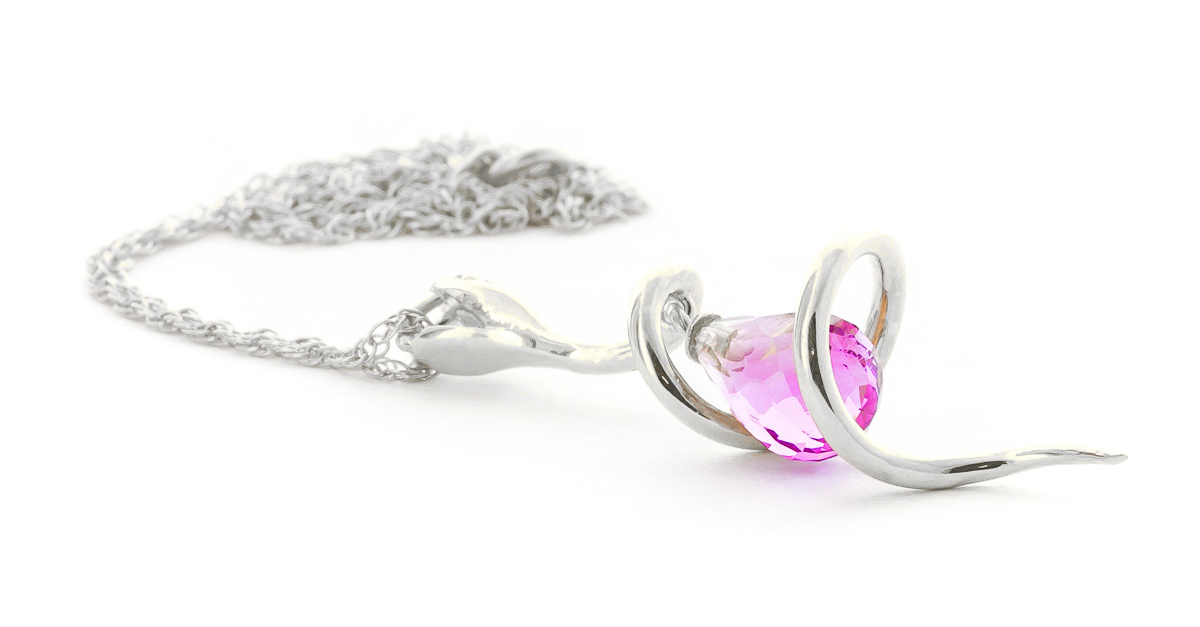 Pink Topaz & Diamond Serpent Pendant Necklace in 9ct White Gold