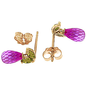 Pink Topaz & Peridot Snowdrop Stud Earrings in 9ct Gold