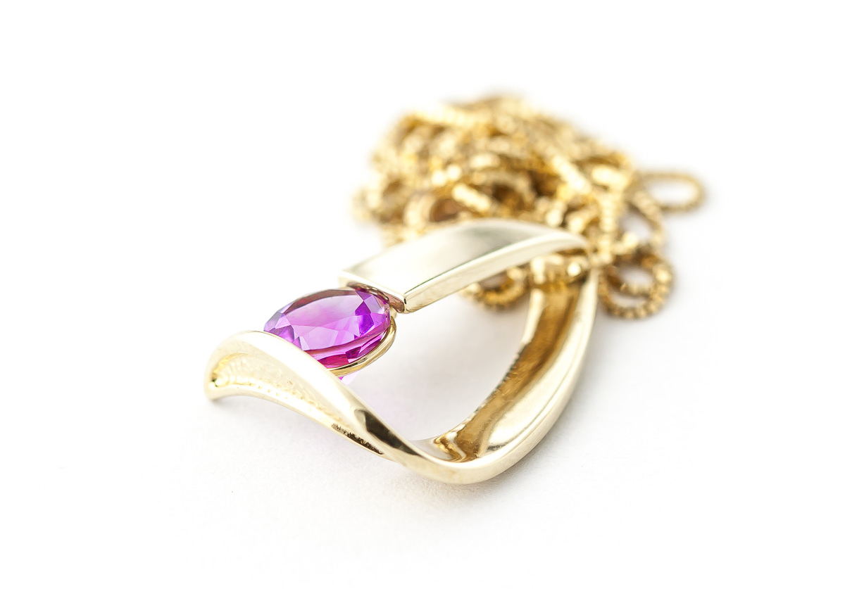 Pink Topaz Arc Pendant Necklace 1 ct in 9ct Gold