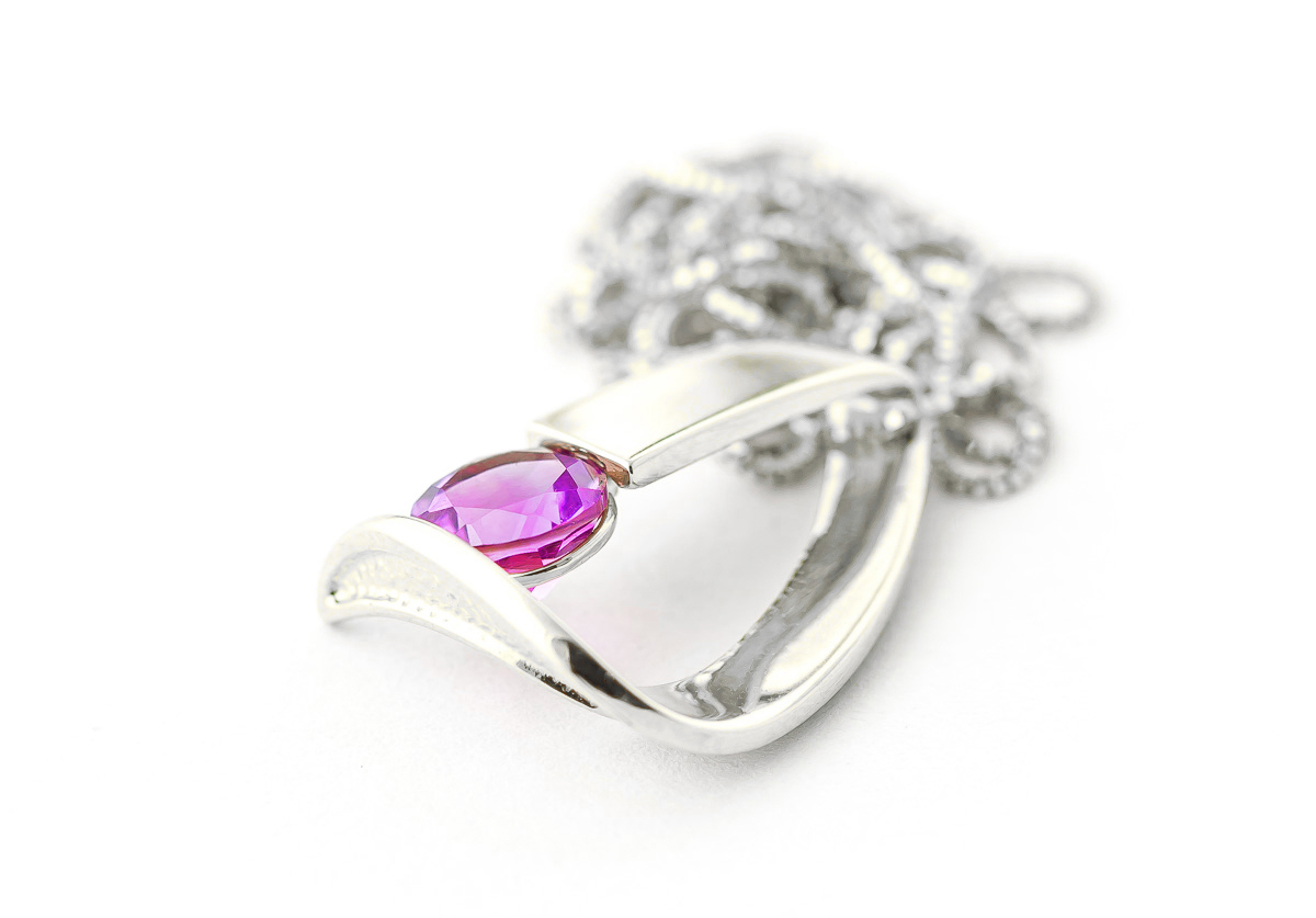 Pink Topaz Arc Pendant Necklace 1 ct in 9ct White Gold
