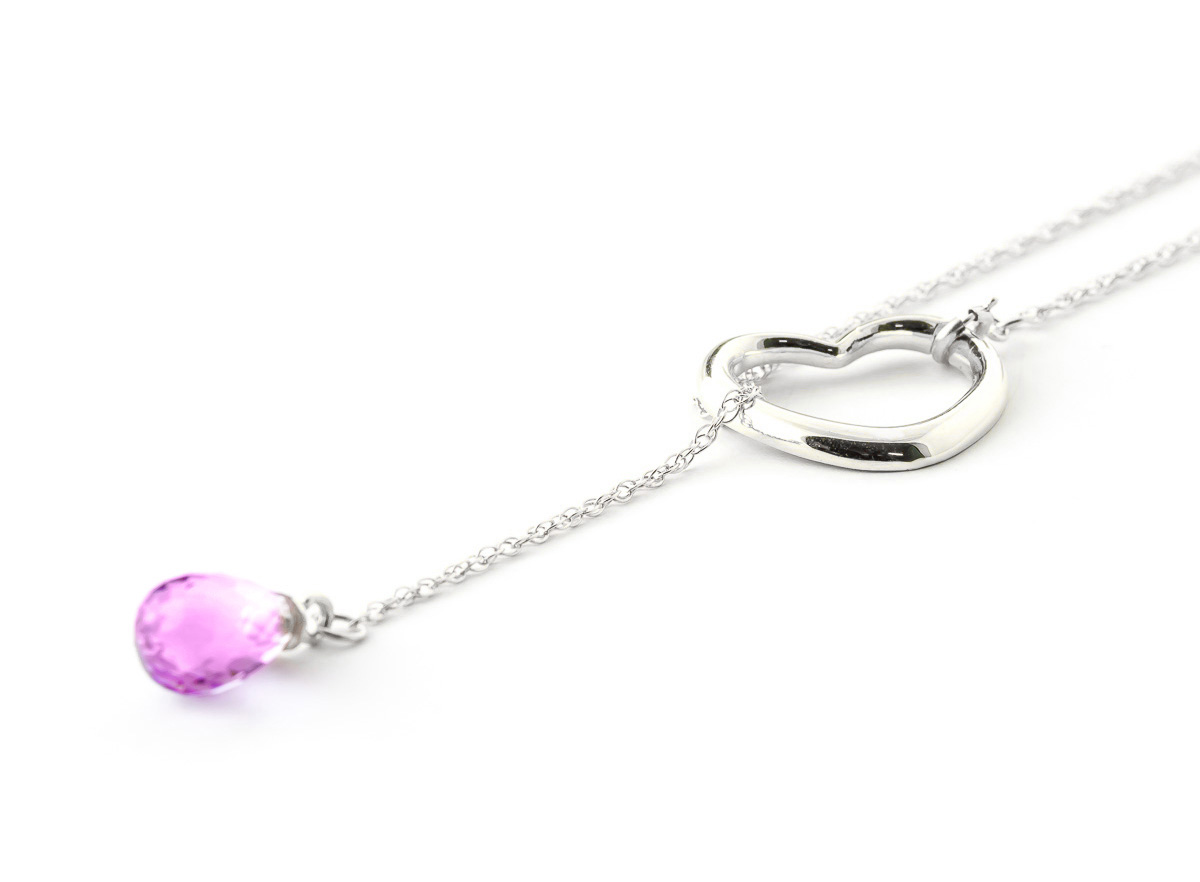 Pink Topaz Heart Drop Pendant Necklace 2.25 ct in 9ct White Gold