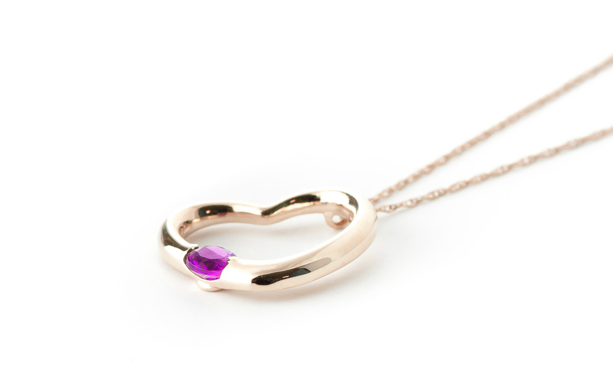 Pink Topaz Heart Pendant Necklace 0.25 ct in 9ct Rose Gold
