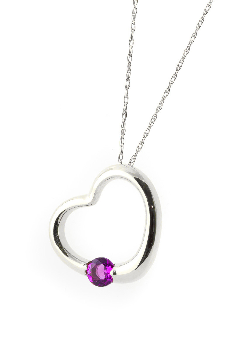 Pink Topaz Heart Pendant Necklace 0.25 ct in 9ct White Gold