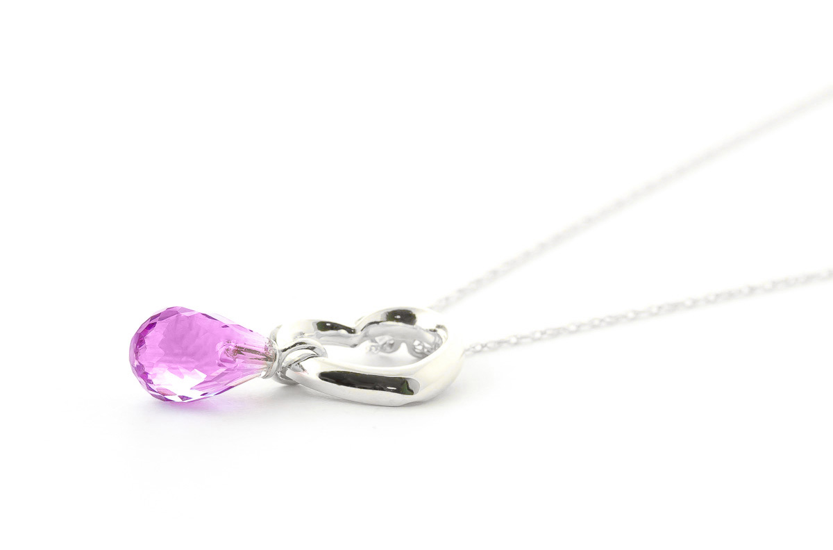Pink Topaz Heart Pendant Necklace 2.25 ct in 9ct White Gold