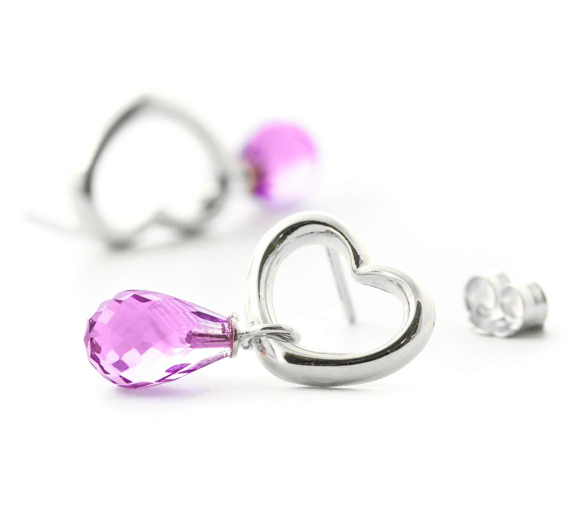 Pink Topaz Stud Earrings 4.5 ctw in 9ct White Gold
