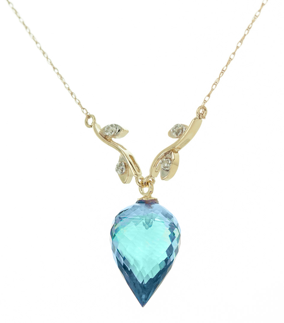 Pointed Briolette Cut Blue Topaz Pendant Necklace 11.27 ctw in 9ct Gold