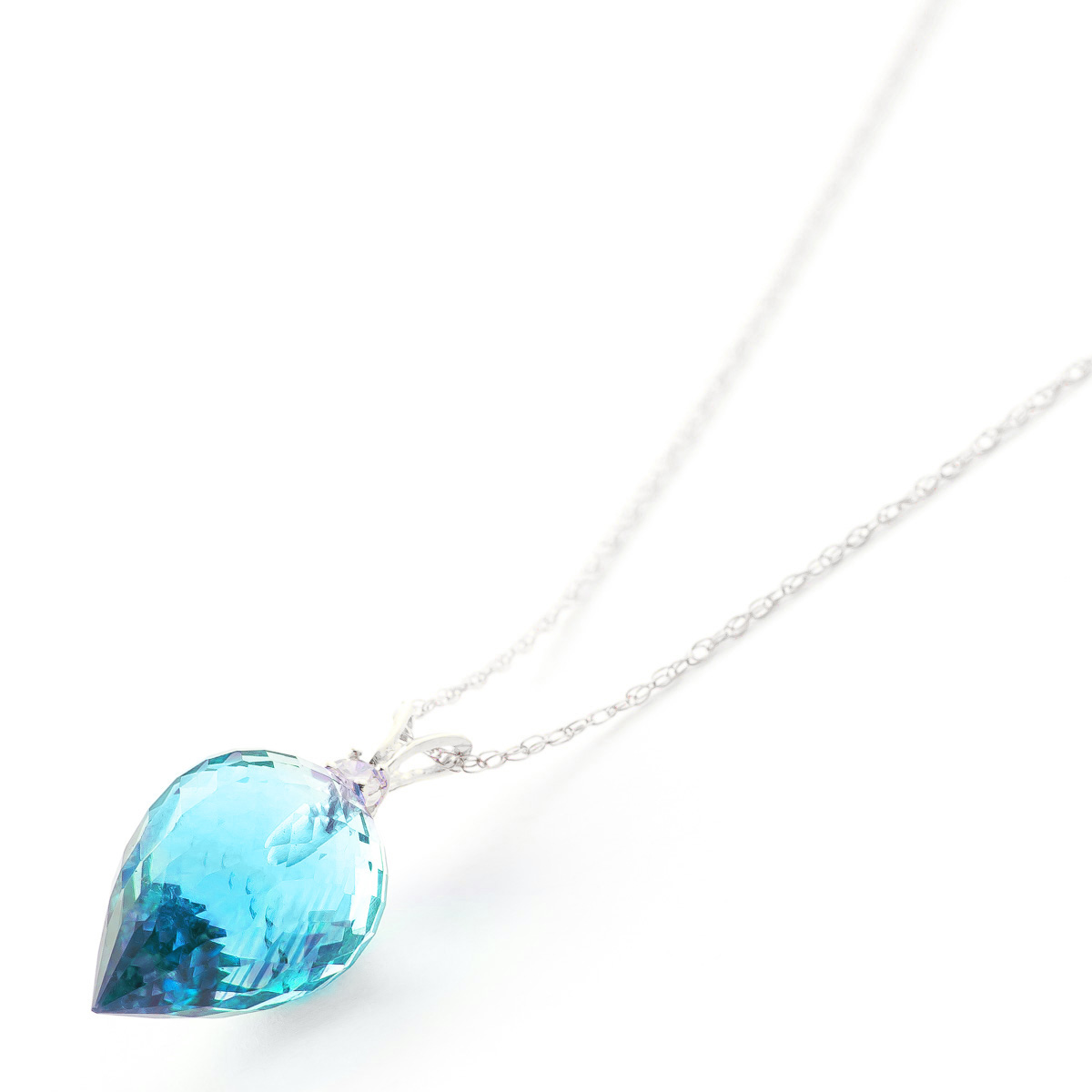 Pointed Briolette Cut Blue Topaz Pendant Necklace 11.3 ctw in 9ct White Gold