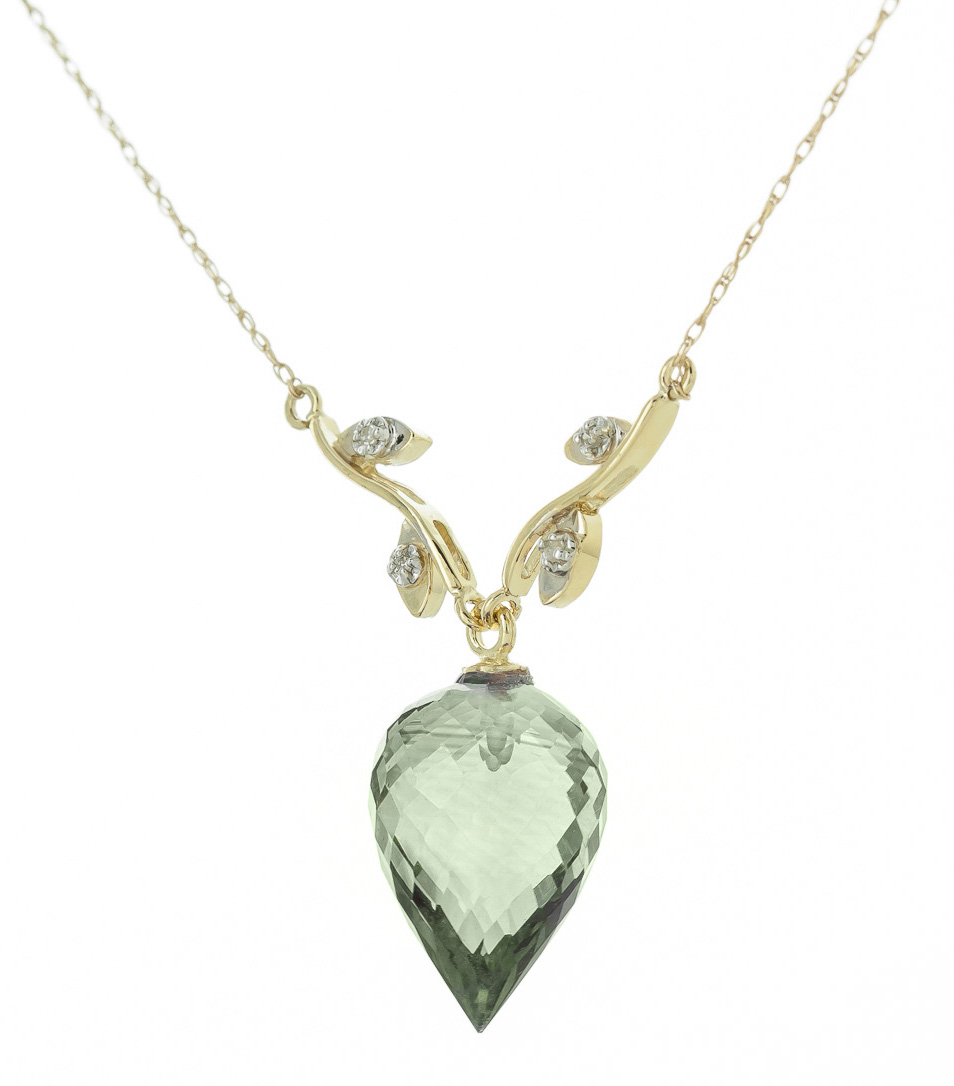 Pointed Briolette Cut Green Amethyst Pendant Necklace 9.52 ctw in 9ct Gold