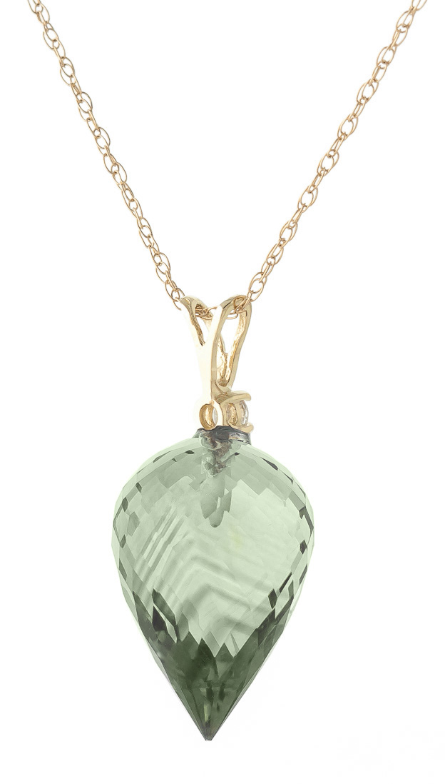 Pointed Briolette Cut Green Amethyst Pendant Necklace 9.55 ctw in 9ct Gold