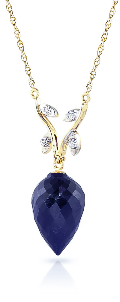 Pointed Briolette Cut Sapphire Pendant Necklace 12.92 ctw in 9ct Gold