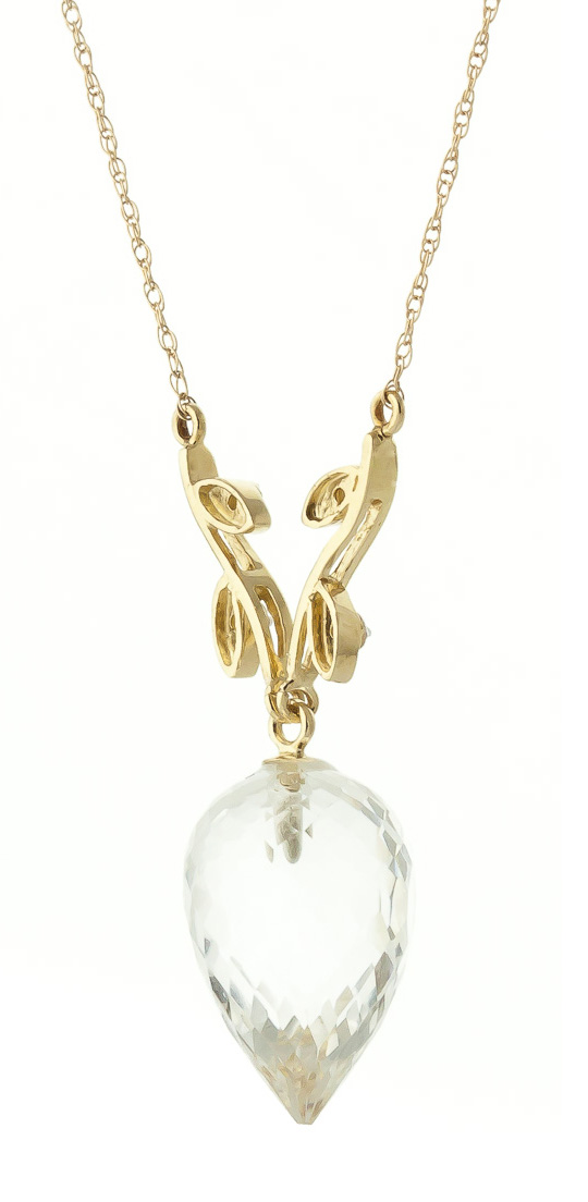 Pointed Briolette Cut White Topaz Pendant Necklace 12.27 ctw in 9ct Gold