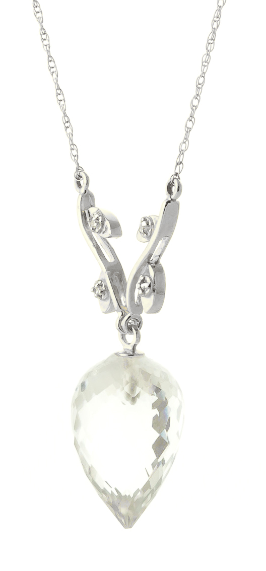 Pointed Briolette Cut White Topaz Pendant Necklace 12.27 ctw in 9ct White Gold