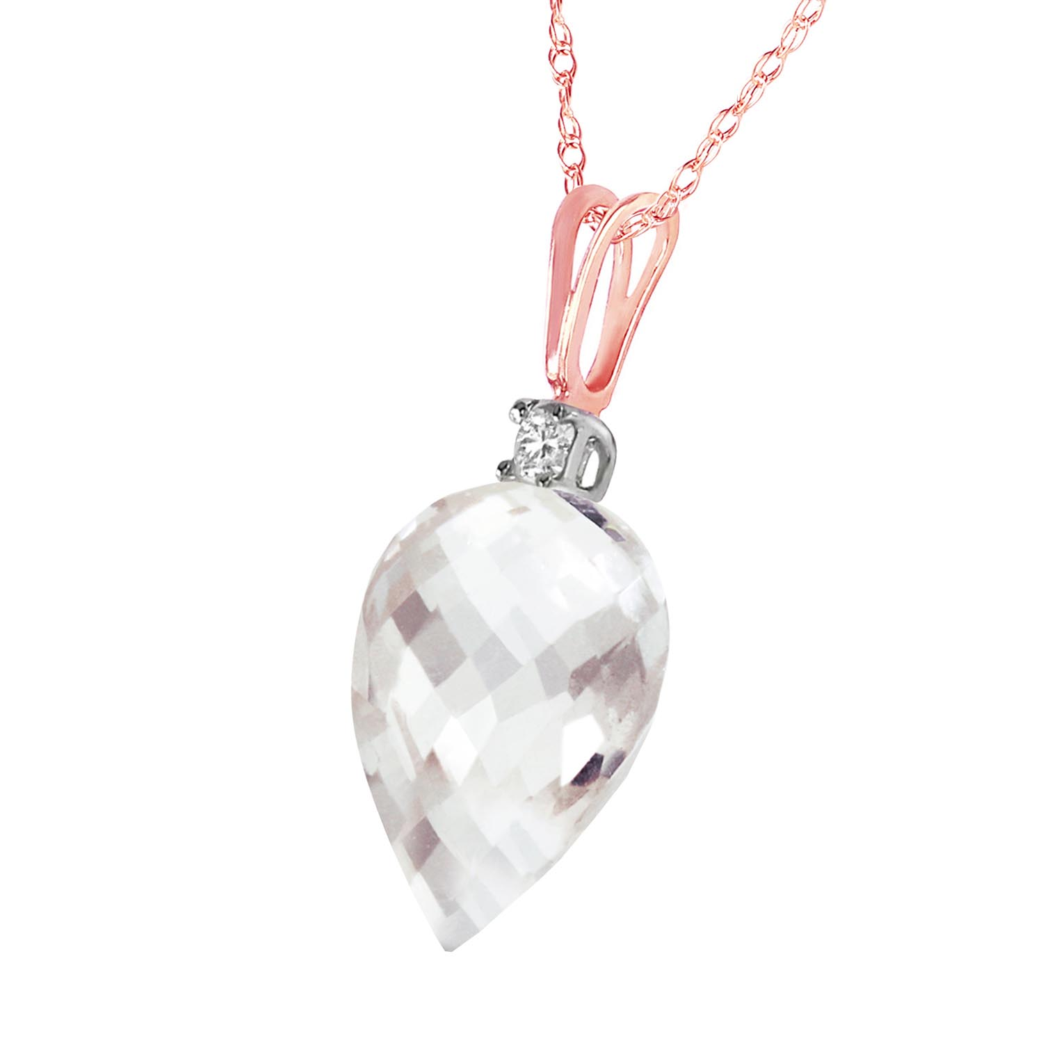 Pointed Briolette Cut White Topaz Pendant Necklace 12.3 ctw in 9ct Rose Gold