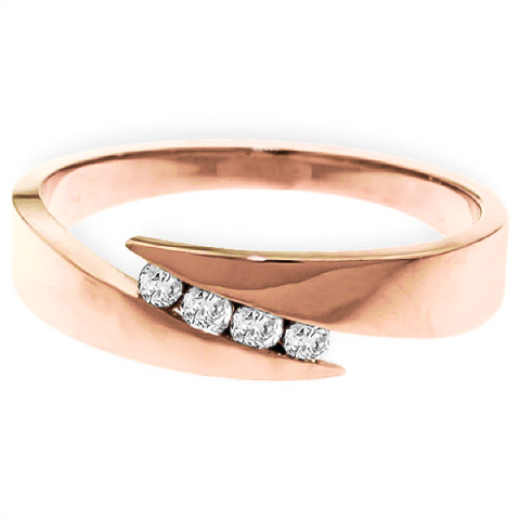 Round Brilliant Cut Diamond Channel Set Ring in 9ct Rose Gold