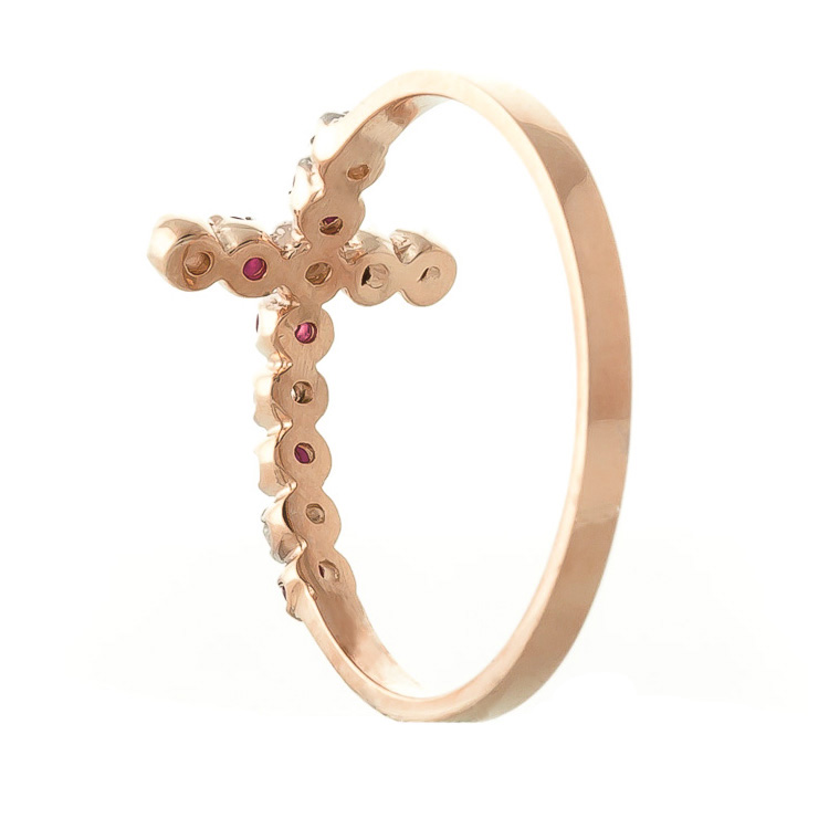 Ruby and Diamond Cross Ring 0.15ctw in 9ct Rose Gold
