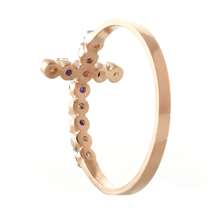 Sapphire and Diamond Cross Ring 0.15ctw in 9ct Rose Gold
