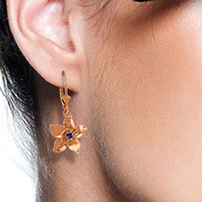 Amethyst Flower Star Drop Earrings 0.2ctw in 9ct Rose Gold
