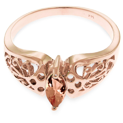 Marquise Cut Citrine Filigree Ring 0.2ct in 9ct Rose Gold