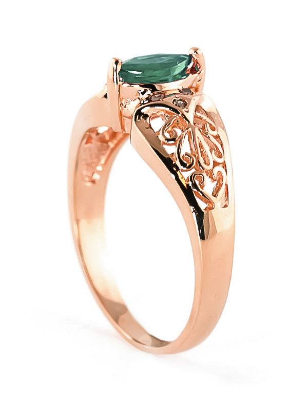 Marquise Cut Emerald Filigree Ring 0.2ct in 9ct Rose Gold