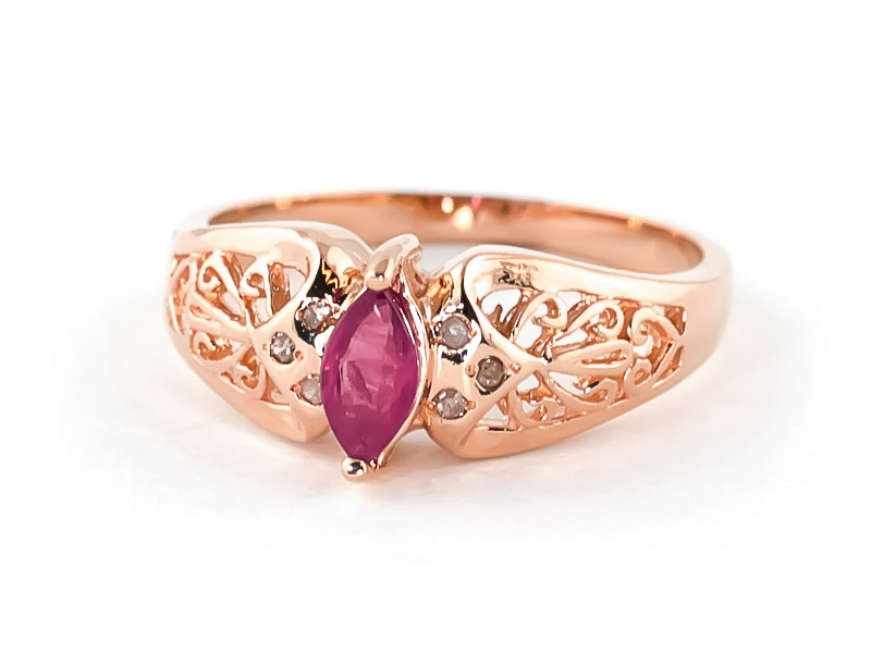 Marquise Cut Ruby Filigree Ring 0.2ct in 9ct Rose Gold