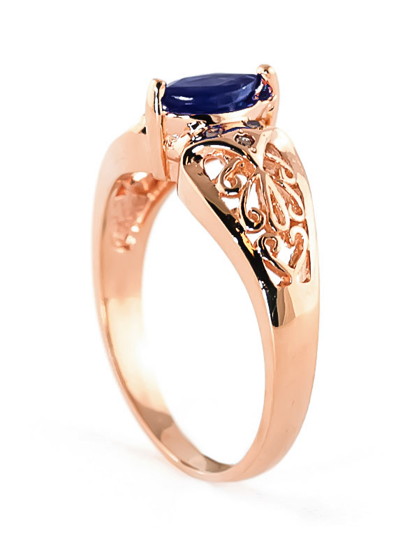 Marquise Cut Sapphire Filigree Ring 0.2ct in 9ct Rose Gold
