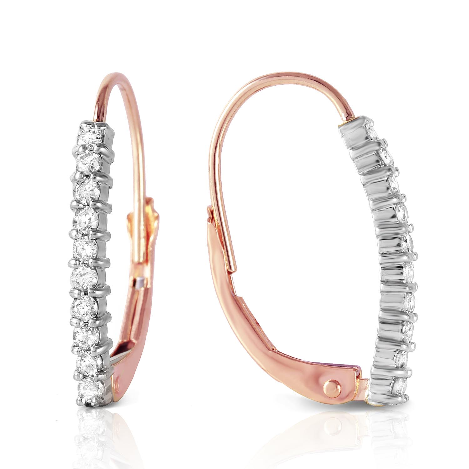 Diamond Laced Stem Drop Earrings in 9ct Rose Gold