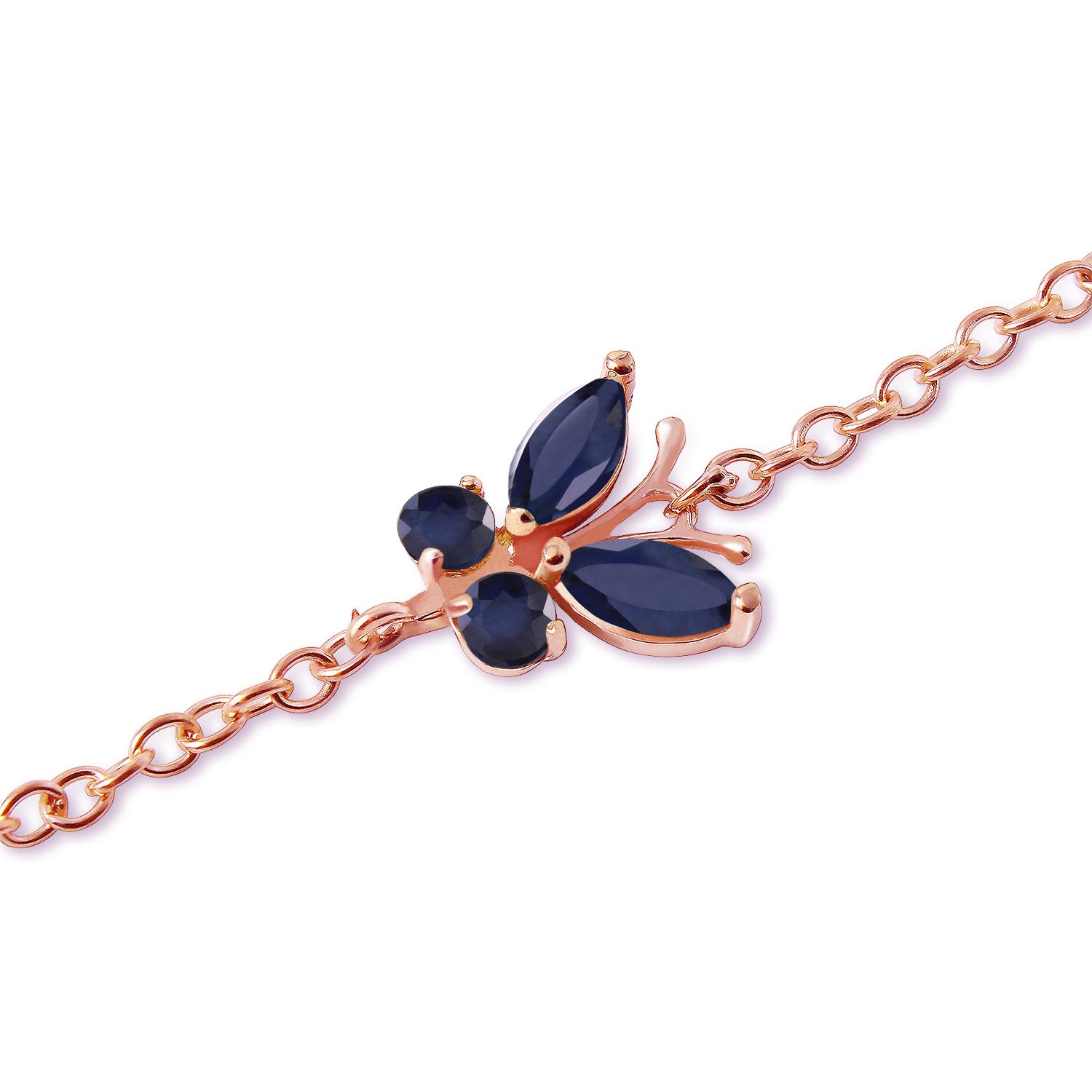 Sapphire Adjustable Butterfly Bracelet 0.6ctw in 9ct Rose Gold