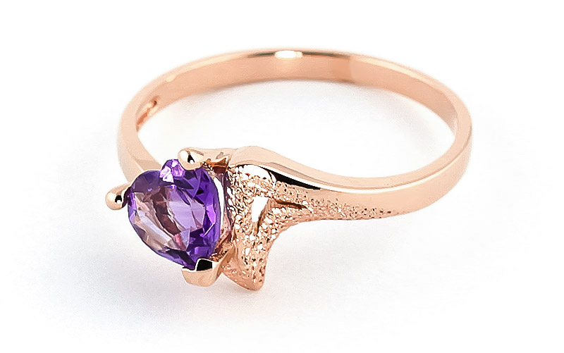 Amethyst Devotion Heart Ring 0.75ct in 9ct Rose Gold