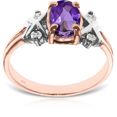 Amethyst and Diamond Ring 0.85ct in 9ct Rose Gold