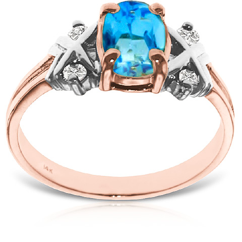 Blue Topaz and Diamond Ring 0.85ct in 9ct Rose Gold