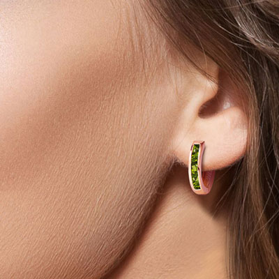 Peridot Acute Huggie Earrings 1.0ctw in 9ct Rose Gold