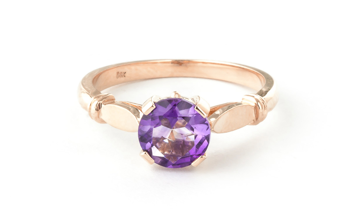 Round Brilliant Cut Amethyst Solitaire Ring 1.15ct in 9ct Rose Gold