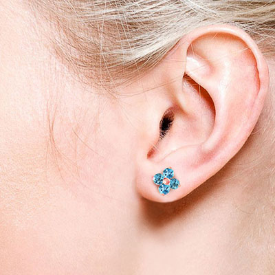 Blue Topaz Clover Stud Earrings 1.15ctw in 9ct Rose Gold