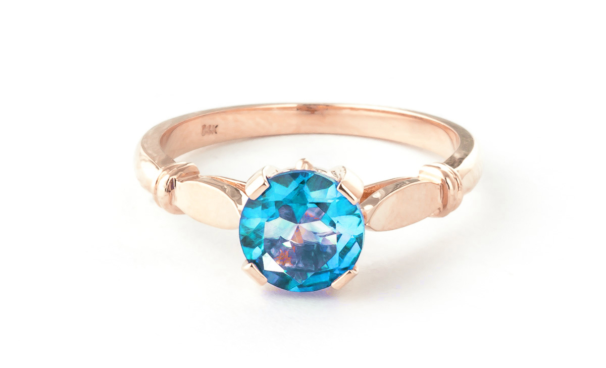 Round Brilliant Cut Blue Topaz Solitaire Ring 1.15ct in 9ct Rose Gold
