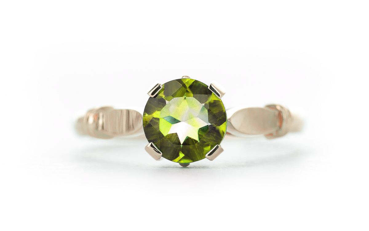 Round Brilliant Cut Peridot Solitaire Ring 1.15ct in 9ct Rose Gold