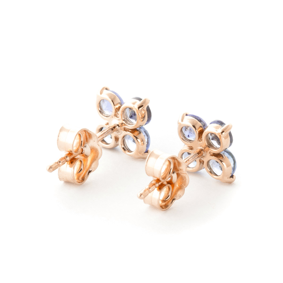 Tanzanite Clover Stud Earrings 1.15ctw in 9ct Rose Gold