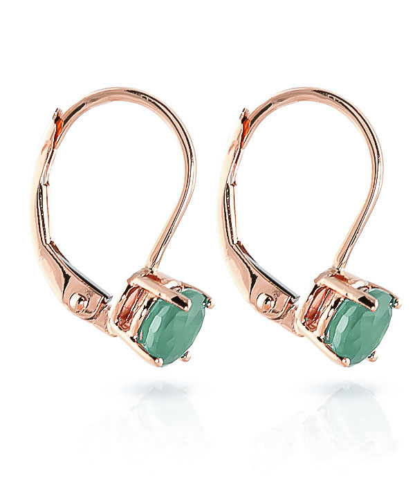 Emerald Boston Drop Earrings 1.2ctw in 9ct Rose Gold