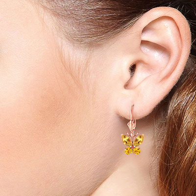 Citrine Butterfly Drop Earrings 1.24ctw in 9ct Rose Gold