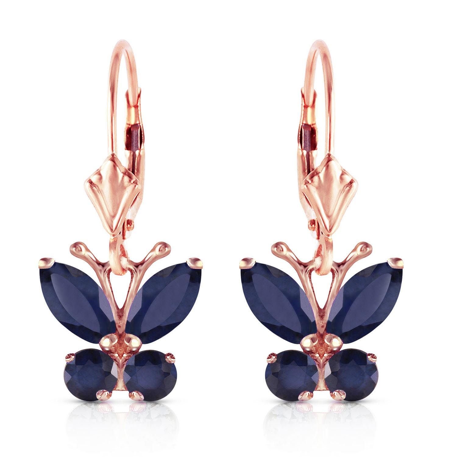 Sapphire Butterfly Earrings 1.24ctw in 9ct Rose Gold