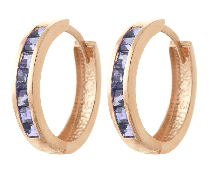 Tanzanite Huggie Earrings 1.35ct in 9ct Rose Gold