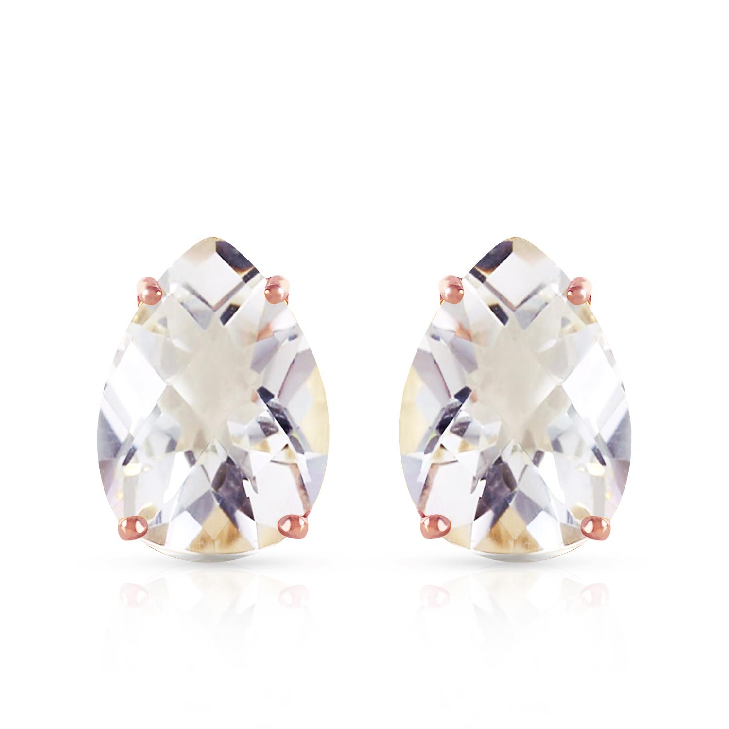 White Topaz Droplet Stud Earrings 10.0ctw in 9ct Rose Gold