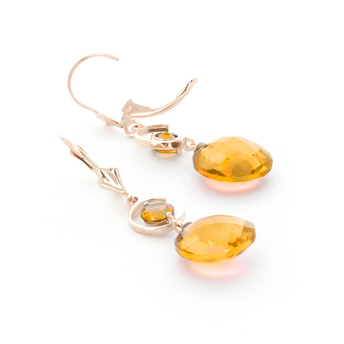Citrine Drop Earrings 11.6ctw in 9ct Rose Gold