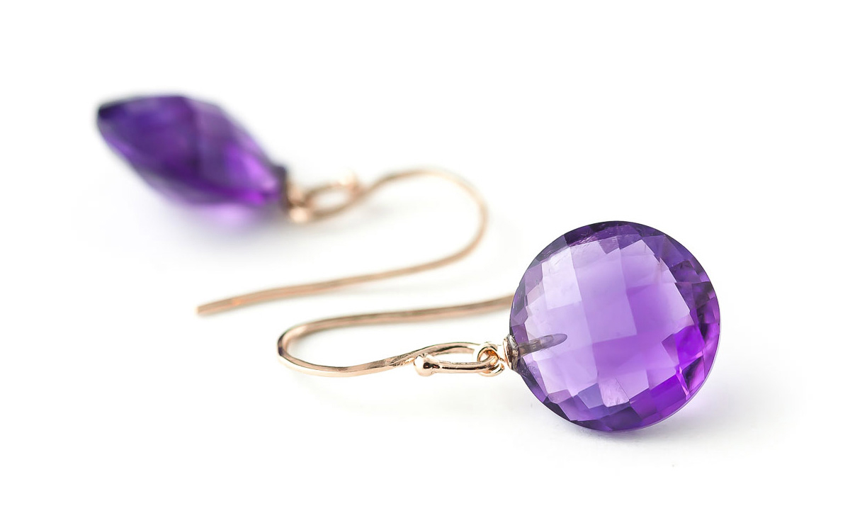 Amethyst Chequer Cut Drop Earrings 12.0ctw in 9ct Rose Gold