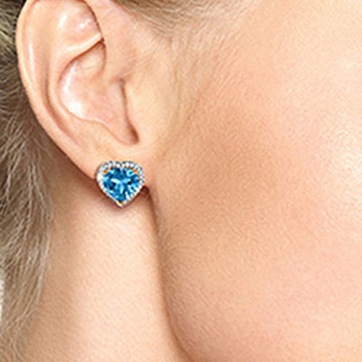 Blue Topaz and Diamond French Clip Halo Earrings 12.6ctw in 9ct Rose Gold