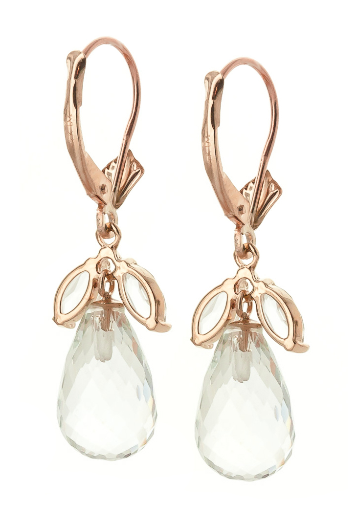 White Topaz Drop Earrings 14.4ctw in 9ct Rose Gold