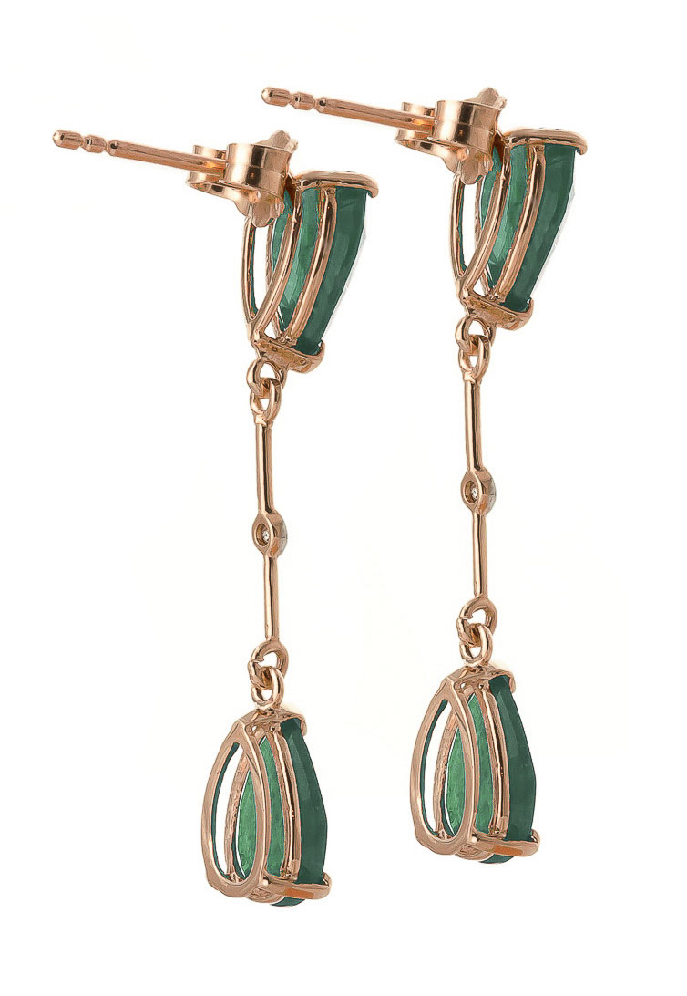 Emerald and Diamond Drop Earrings 15.0ctw in 9ct Rose Gold