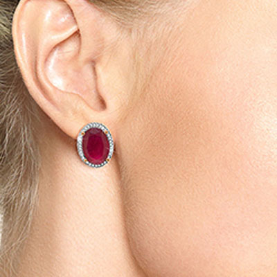 Ruby and Diamond French Clip Halo Earrings 15.5ctw in 9ct Rose Gold