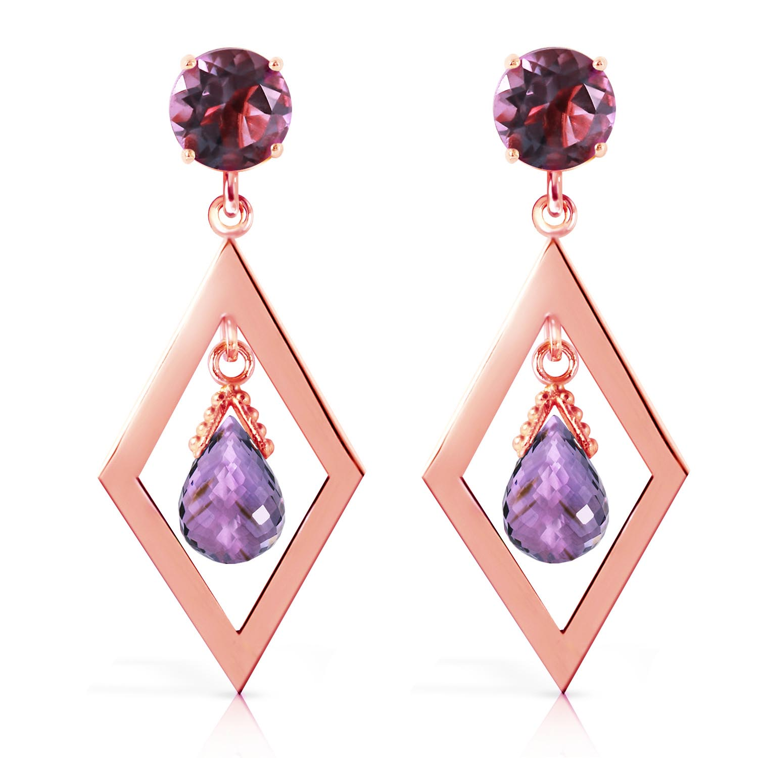 Amethyst Kite Drop Earrings 2.4ctw in 9ct Rose Gold