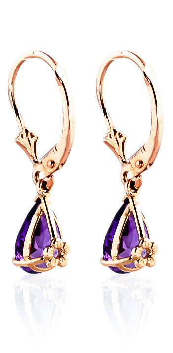 Amethyst Belle Drop Earrings 2.5ctw in 9ct Rose Gold